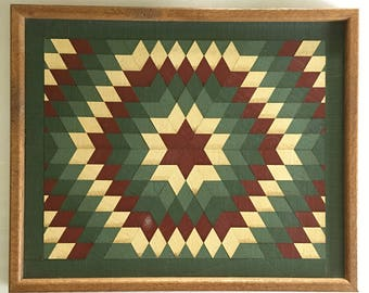 Wooden Quilt Block Wall Hanging Barn Quilt Square Traditional Colors Red Cream Hunter Green Hand Crafted Art Wall Hanging