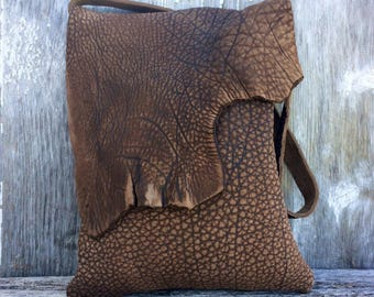 Rustic Steer Hide Leather Bag by Stacy Leigh