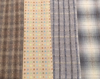 Four half yards Japanese Taupe wovens - 2 yards total