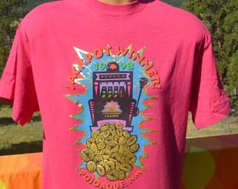 vintage 90s t-shirt JACKPOT WINNER pojoaque casino shiny gold tee shirt Large Medium