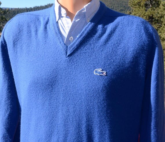 vintage 70s golf sweater IZOD LACOSTE v-neck soft alligator Large XL preppy 80s