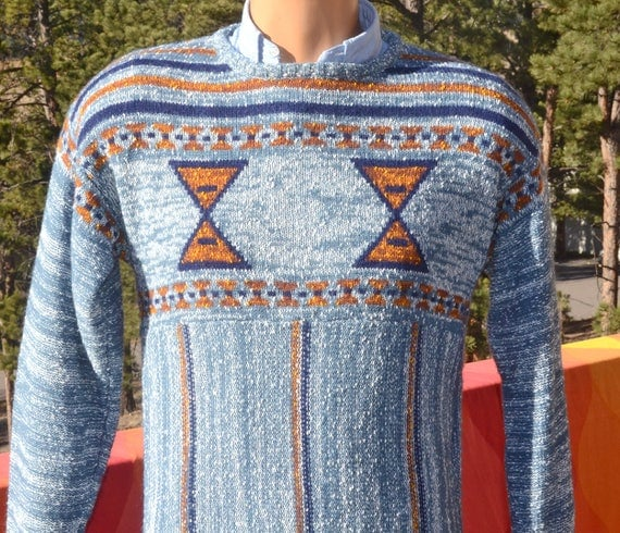 vintage 70s sweater SPACE DYE native knit blue stripe esprit campus Medium Small