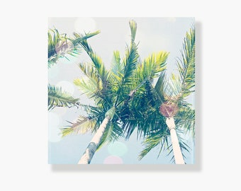 Palm tree photo canvas, coastal decor, blue, canvas gallery wrap, beach decor, coastal wall art, palm tree wall art- Palm Trees and Sunshine