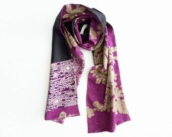 Silk scarf, purple kimono fabric, vintage floral Japanese kimono fabric