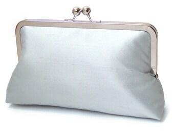 Pale blue clutch purse, silk bag with chain handle, wedding bridal clutch, bridesmaid gift