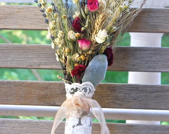 Custom for Kasi Fall Winter Wedding  Brides, Bridesmaids and Flower Girl Bouquets Dried Lavender, Gilded Grains, Larkspur and Spray Roses