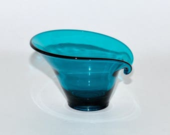Mid Century Modern Viking Epic Teal Blue Glass Bon Bon Candy Dish Vase