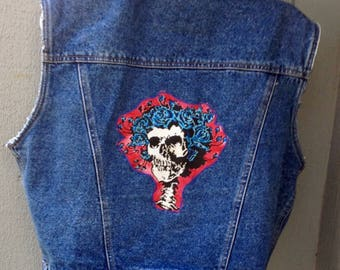 Grateful Dead Vest, Patch, Ready to ship, hippie vest, Bertha Vest, Denim vest, Small Medium L Grateful Dead