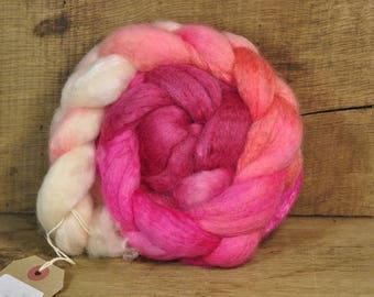 BFL Wool / Sparkly Nylon Top - 'Coral'