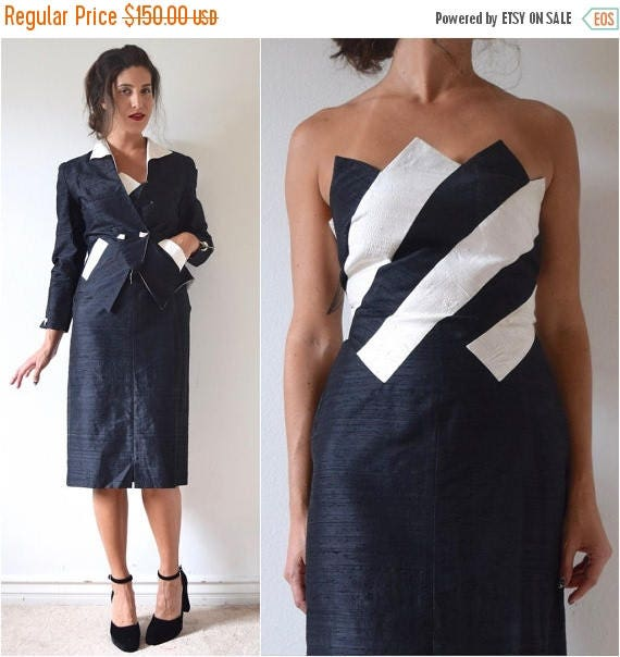 SALE SECTION / 50% off Vintage 80s does 50s Black and White Striped Paneled Thai Silk Strapless Wiggle Dress and Matching Jacket Suit Set (s