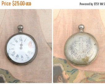 ON SALE Antique 1900s sterling silver mechanical French pocket watch to restaure