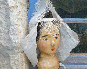 Vintage Antique 1900s Victorian  French lady's bonnet coming from Les Sables d'Olonne ( Vendée)