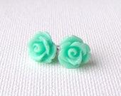 Mint rose stud earrings / surgical steel / mint green earrings / resin roses / girlfriend gift / gift for her / hypoallergenic earrings
