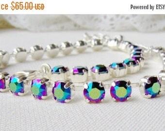 SALE Swarovski crystal rhinestone necklace / 6mm / Scarabaeus green / Statement necklace / Bridal / Tennis necklace / multicolor / rainbow