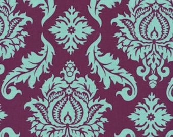 Joel Dewberry Fabric - Aviary 2, Damask in Plum, Purple, Blue, Quilting Cotton - FAT QUARTER
