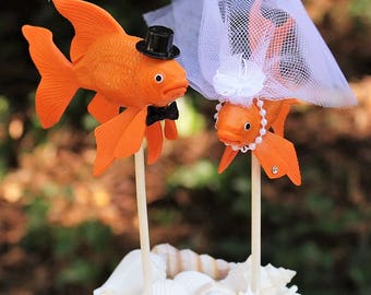 Fish Wedding Cake Topper, Fishing Wedding Cake Topper, Fisherman-Gold Fish-Fisherman-Bride and Groom-Unique Cake Topper