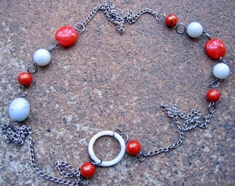 Eco-Friendly Statement Necklace - Kiss and Tell - Recycled Vintage Steel Curb Chain and Beads in Bright Poppy Red and Pale Grey