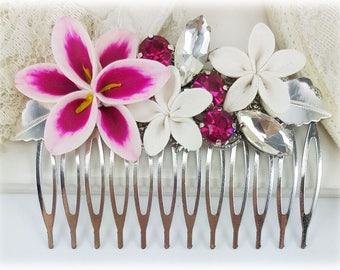 Pink Flower Hair Comb - Pink Lily Hair Comb, Stargazer Lily Comb, Pink Wedding Hair Comb