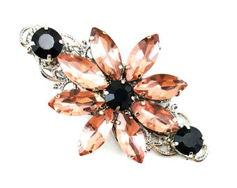 Pink Flower Rhinestone Hair Clip - Pink and Black Hair Accessories, Pink Daisy Crystal Clip, Pink Vintage Style Hair Cip