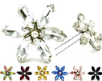 Rhinestone Flower Hair Pin - Crystal Bridal Hair Flower  Rhinestone Hair Flower, Wedding Hair Accessories