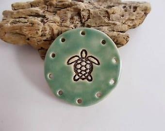 Handmade Ceramic Turtle Pine Needle Basket Base