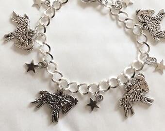 Capricorn horoscope, star sign goat bracelet silver tone charm bracelet choice of lengths from 19 -21 cm