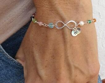 ON SALE Customized Initial Infinity Bracelet,Friendship Bracelet Infinity Multi Gem Bracelet,Sister Bracelet Gift,To Infinity and Beyond Bra