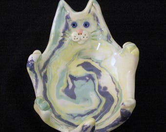 Colored Porcelain Cat Teabag Holder
