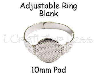 50 Adjustable Rings with Glue Pad for Fabric Covered Button Rings - SEE COUPON