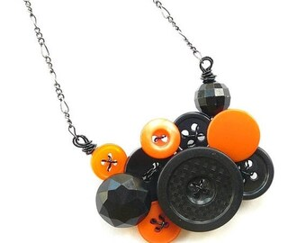 BUTTON JEWELRY SALE Team Colors Orange and Black Button Necklace