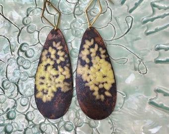 Yellow leaf earrings