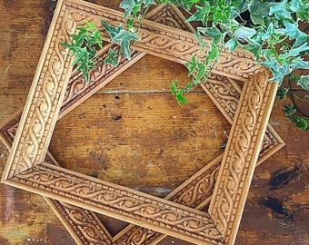 Picture This... Vintage Hand Carved Distressed Wood Photo Picture Frame Farmhouse Decor Bohemian Boho Chic