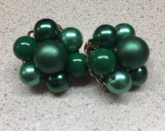 Dark Green Beaded Clip Earrings
