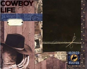 The Cowboy Life - 12x12 Premade Western Scrapbook Page