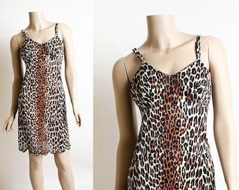 Vintage Leopard Print Slip - Jungle Girl Slinky 1960s Nightie Vanity Fair Nightgown Slip Dress - Pebbles - Scallop Hem - Cheetah Print small