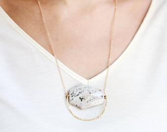 Hammered Circle Jasper Necklace | Hammered Necklace | Brass Stone | Gold Stone | Long Stone Necklace | Boho Necklace | Large Stone Necklace