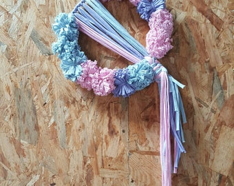 Pastel Pom Poms & Macramé Knots Wall Hanging. Pink, Blue and Purple.