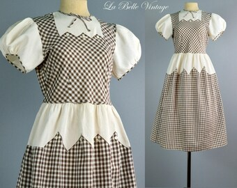 1930s Cotton Gingham Dress XS ~ Vintage Pique & Checkered Frock