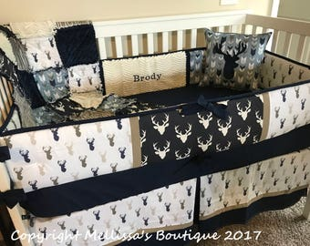 Custom Rustic Deer Fletching Arrows Navy Blue and Tan Baby Nursery 5 pc Complete Bedding Set MADE To ORDER