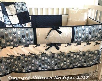 Custom Rustic Deer & Fletching Arrows Smokey Blue Navy and Tan Baby Nursery Bedding Set MADE To ORDER