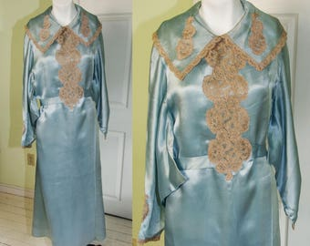 Vintage 1930's Blue Silk Satin Womans Robe with Illusion Lace