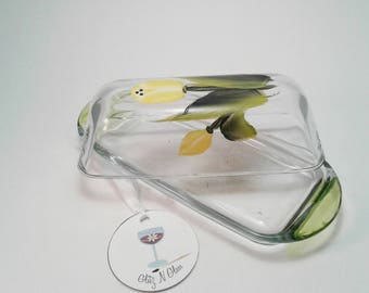 Hand Painted Yellow Tulip Glass Butter Dish