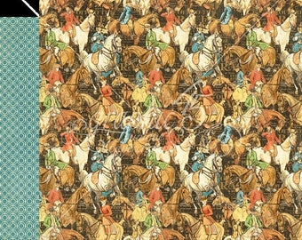 WOWZA Graphic 45 Off to the Races Hot to Trot Scrapbook Paper