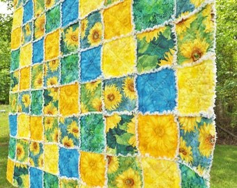 Sunflowers Lap Rag Quilt - Blue and Yellow Quilt -  Sunflower Quilt - Floral Rag Quilt - Summer Lap Quilt