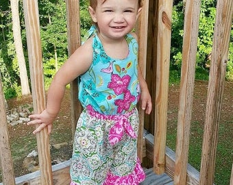 SALE Beach Comber Halter Romper PDF Whimsy Couture Sewing Pattern 12 months thru 16 girls Instant Download