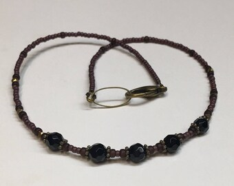 Faceted Natural Onyx Gemstone Necklace - Choker Type Necklace - Dainty Beaded Necklace