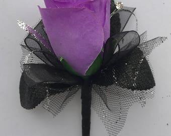 Lilac purple Silk Rose Boutonnière