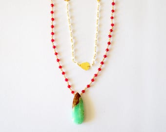 14k Gold Vermeil Layering Necklace with Mint Green Brown Chrysophase and Fuchsia Hot Pink Chalcedony Gemstones /Green Gold Fuchsia Necklace