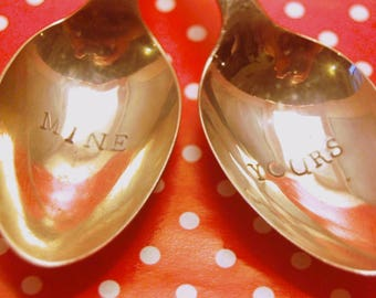 Couple Spoons - Hand Stamped Spoons - Pair of Small Spoons - Mr and Mrs -  Mr and Mr - Mrs and Mrs - Mine Yours-  Personalise - Cutlery