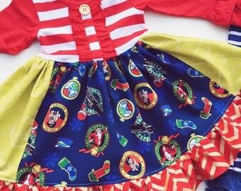 Polar Express Christmas dress Santa Clause Elf North Pole girls Christmas holiday dress Momi boutique girls  dress